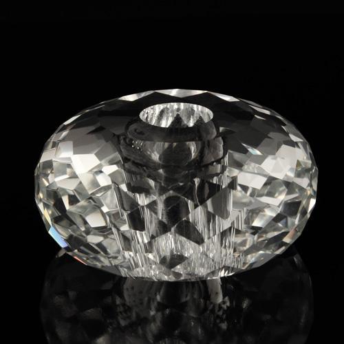 Sfera in cristallo molato e sfaccettato colore puro Ø 60 mm h 28 mm foro Ø 14 mm, doppio foro
