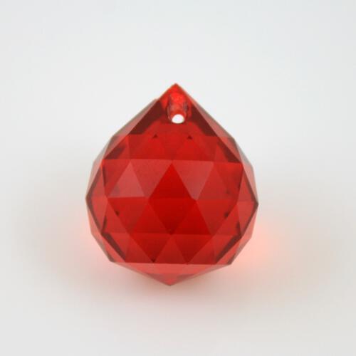Sfera sfaccettata 20 mm vetro molato rosso