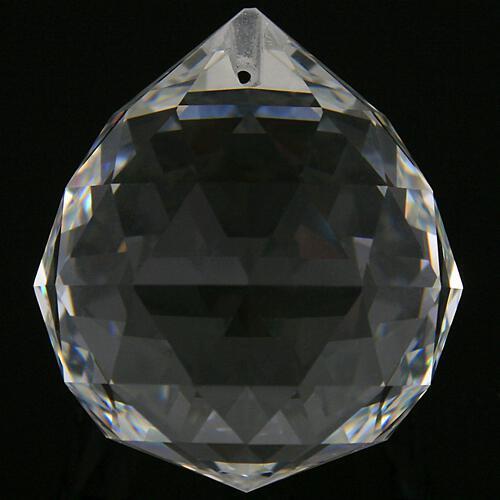 Sfera sfaccettata Ø70 mm in vetro molato, color cristallo