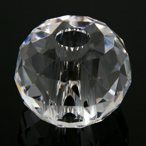 Sfera strass cristallo molato e sfaccettato colore puro Ø 50 mm h 35 foro Ø 14 mm. Doppio foro