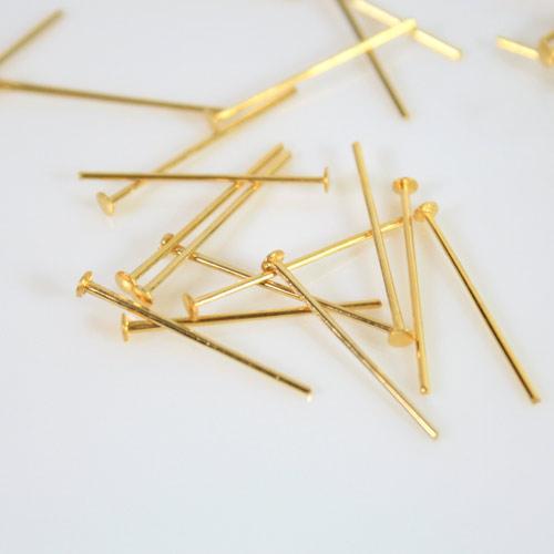 Spillo a chiodo bagno oro 20 mm per cristalli e perle filo 0,7 mm