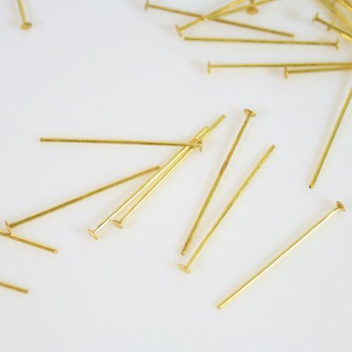Spillo a chiodo ottone brillante 25 mm per cristalli e perle filo 0,7 mm