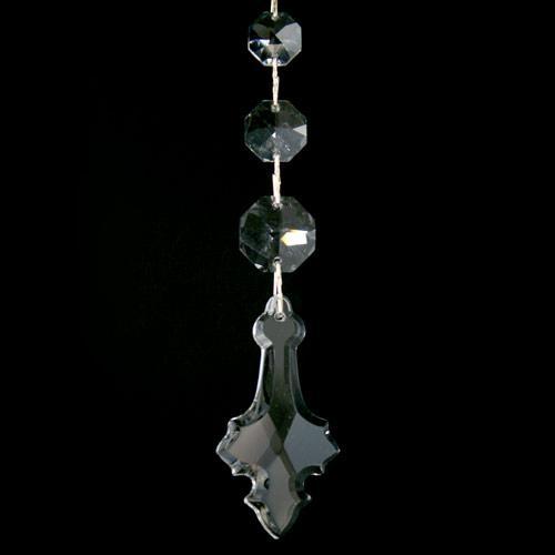 Strenna decorativa con cristalli Asfour, pendente a croce, ottagoni a scalare.