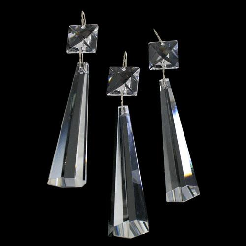 Strenna decorativa con cristalli Asfour, quadrucci e prisma pendente sfaccettato.