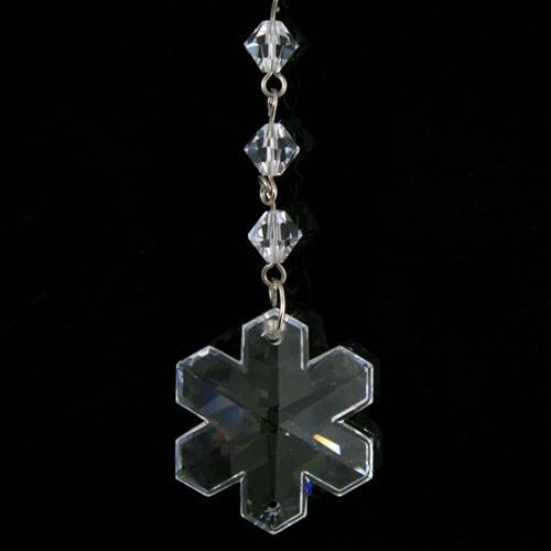 Strenna decorativa con cristalli Swarovski, fiocco di neve e biconi.