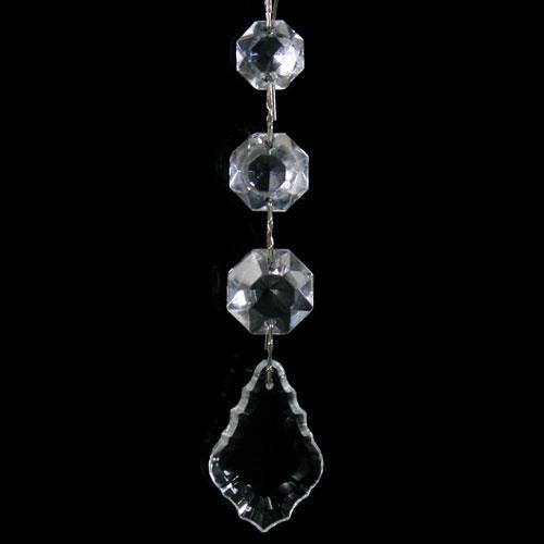 Pendente strenna decorativa con ottagoni a scalare e ciondolo foglia 38 mm in cristallo veneziano.