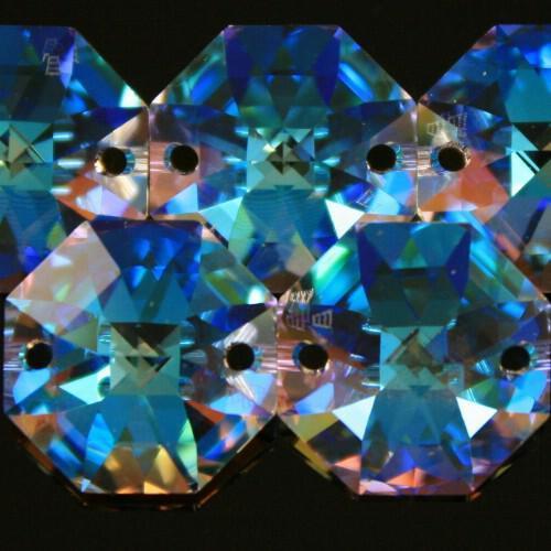 Swarovski - Cristallo ottagono doppio foro Aurora Boreale 14 mm - 8116 -