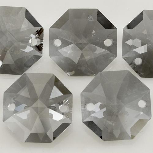 Swarovski - Cristallo ottagono doppio foro Crystal Silver Glaze 14 mm - 8116 -