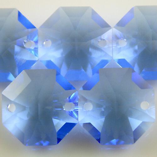Swarovski - Cristallo ottagono doppio foro Medium Sapphire 14 mm - 8116 -
