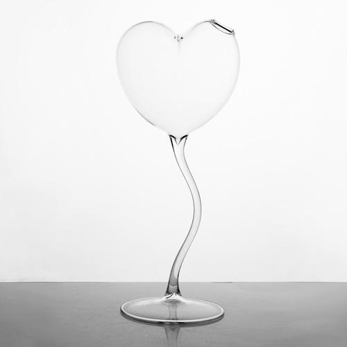 Vaso di vetro cristallo trasparente a cuore 31 cm. Contenitore per fiori, porta essenze, porta profumi