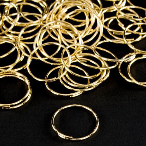 Anello Ø18 mm in ottone dorato con brisè per catene di cristalli