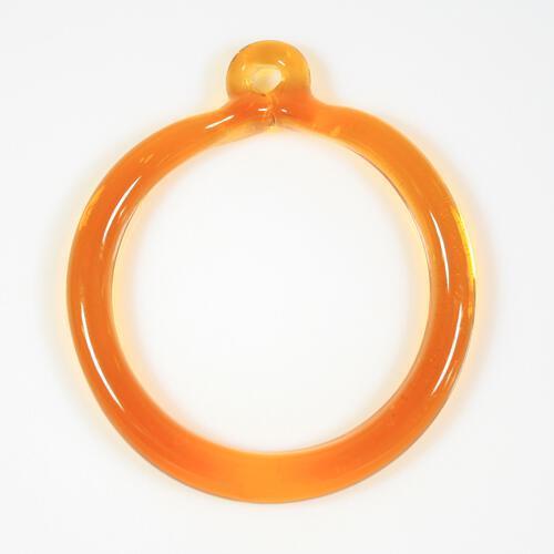 Anello pendente 50 mm vetro di Murano ambra scuro