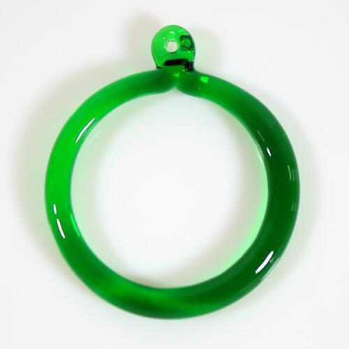 Anello pendente 50 mm vetro di Murano verde scuro