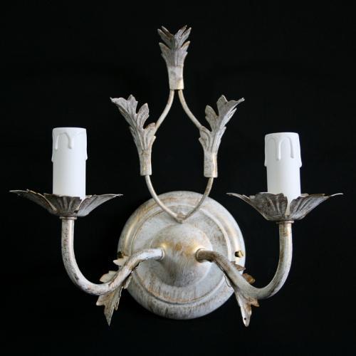 Applique a 2 luci bianco screziato oro con foglie stilizzate