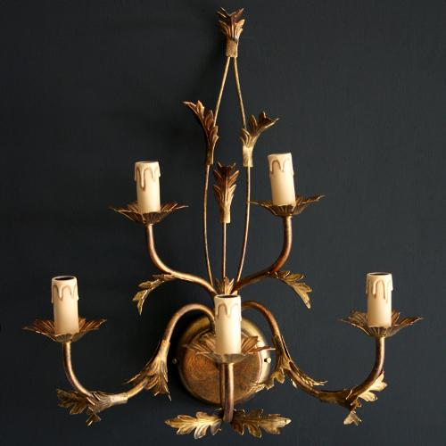 Applique a 5 luci ferro bronzato con foglie stilizzate