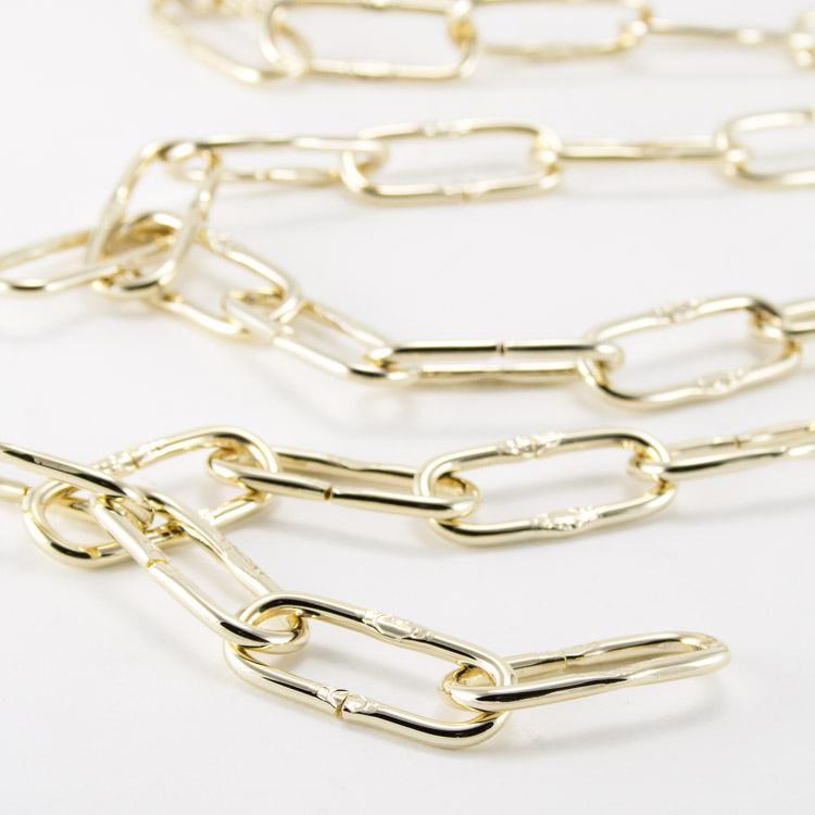 Catena metallica oro maglia francese 5x12x45 mm per lampadari