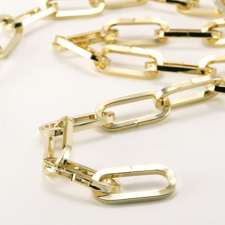 Catena metallica oro maglia genovese sezione quadrata 4.9x15x43 mm per lampadari