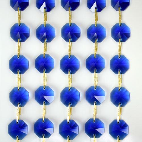 Catena ottagoni 14 mm in cristallo blu cobalto, lunghezza 50 cm. Clip ottone.