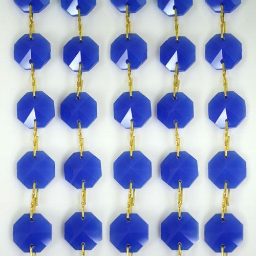 Catena ottagoni 14 mm in cristallo blu seta, lunghezza 50 cm. Clip ottone.