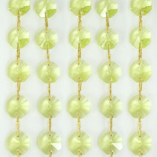 Catena ottagoni 14 mm in cristallo giallo lime, lunghezza 50 cm, clip ottone.