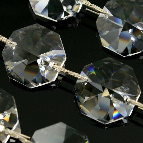 Catena ottagoni 22 mm cristalli Asfour lunga 50 cm, clip nickel.