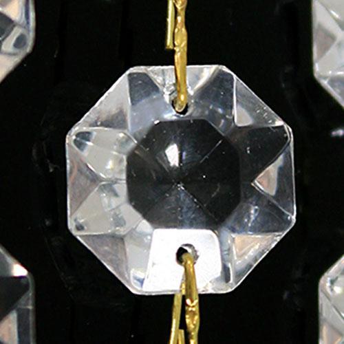 Catena ottagoni 34 mm in vetro veneziano color cristallo, lunghezza 50 cm, clip ottone.