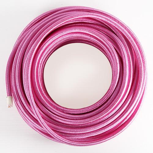 Cavo elettrico tondo isolato in PVC rivestito tessuto rosa ciclamino. Sezione 3x0,75