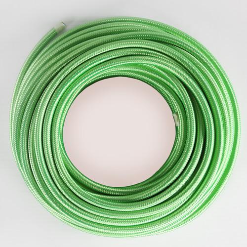 Cavo elettrico tondo isolato in PVC rivestito tessuto verde prato. Sezione 3x0,75