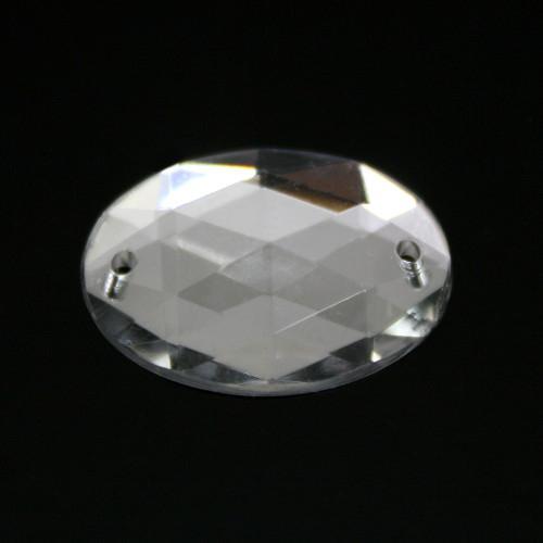 Cristallo acrilico ovale sfaccettato 2 fori, da cucire o incatenare, colore puro, fondo specchio
