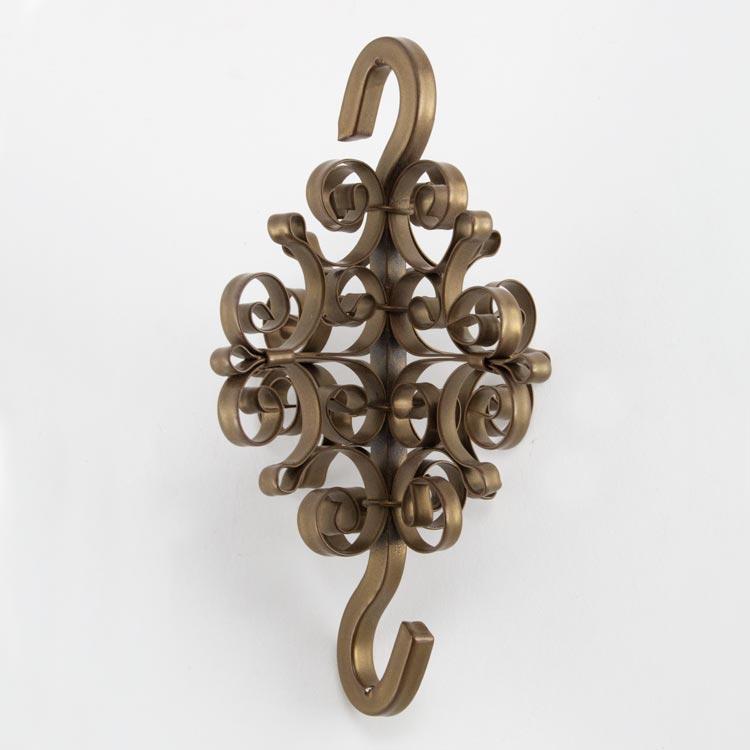 Crocetta aggancio laccato oro Ø9 cm in ferro forgiato per lampadario stile antico veneziano