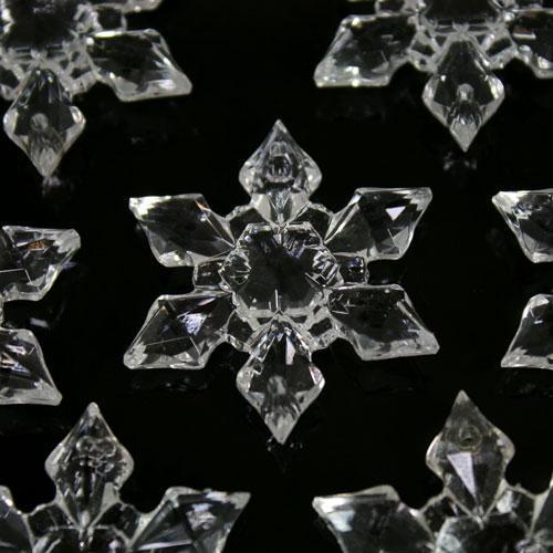 Fiocco di neve 44 mm cristallo acrilico sfaccettato 2 fori, colore puro