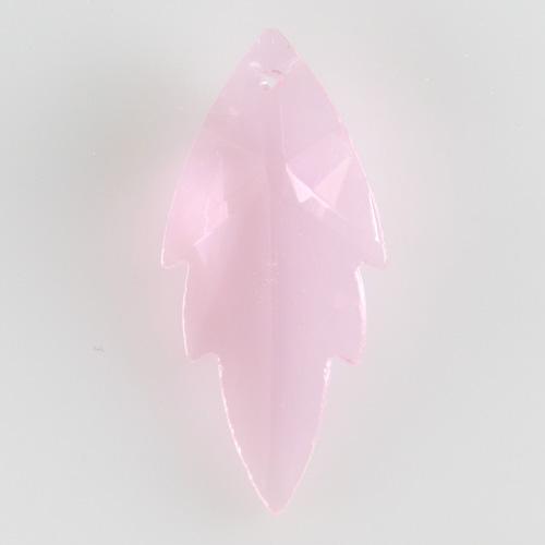 Foglia pendente h56 mm in cristallo molato color rosa