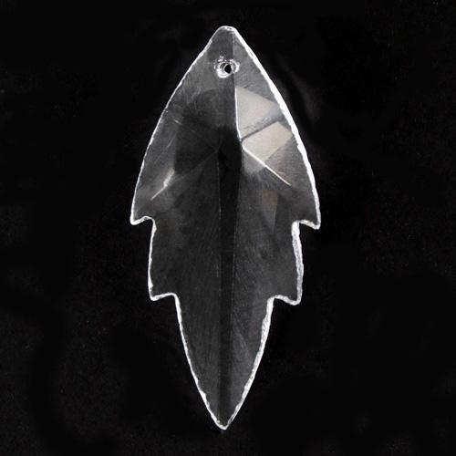 Foglia pendente h56 mm in cristallo molato colore puro trasparente