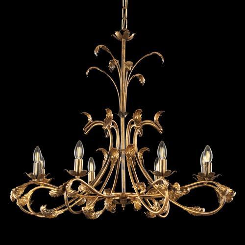Lampadario a 8 luci con cimiero, struttura bronzo spennellato oro con foglie e bracci curvi