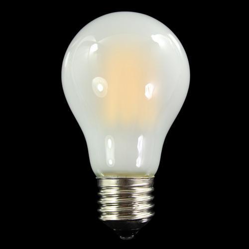 Lampadina satinata E27 con 6 strisce Led COB lineari, 6 W 230V, luce calda 3000K.