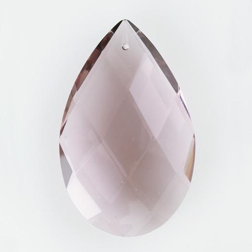 Mandorla goccia h85 mm cristallo Boemia originale cecoslovacco ametista. Pendente vintage anni '50 molato a mano.