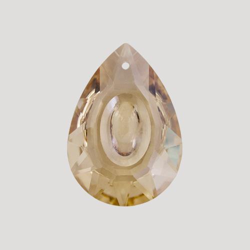 Mandorla goccia pendente 38 mm cristallo vetro molato color cognac.