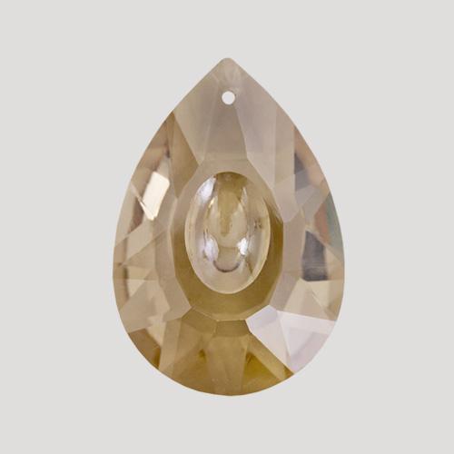 Mandorla goccia pendente 50 mm cristallo vetro molato color cognac.