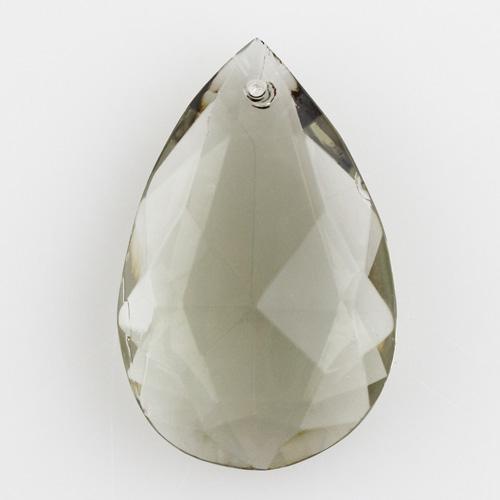 Mandorla in cristallo di Boemia h47 mm colore fumè scuro. Per restauri di lampadari vintage.