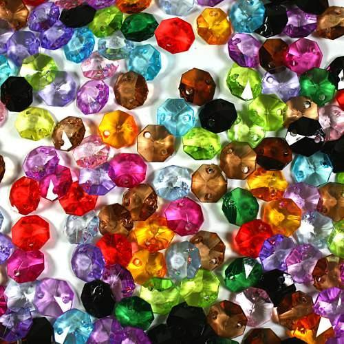 Ottagoni 14 mm multicolor cristallo acrilico 2 fori, colori vari