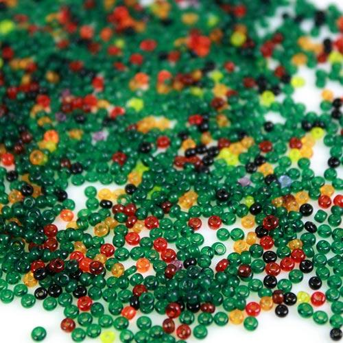 Mix perline di conteria 2 mm giallo-verde-rosso e nero