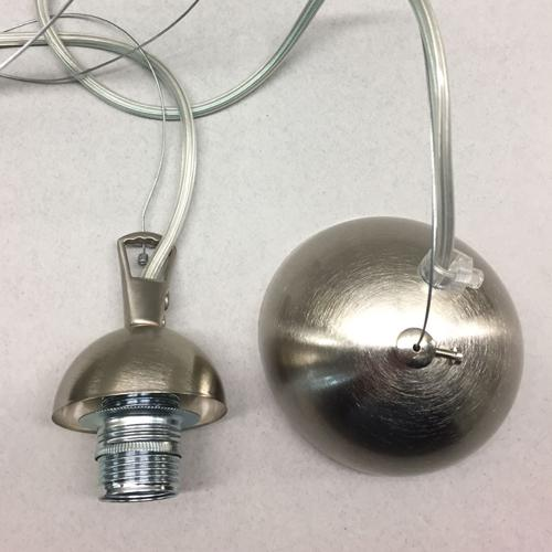 Montatura 1 luce sospensione E14 nikel spazzolato: corona + cavo acciaio + cavo pvc trasparente