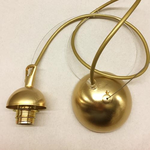 Montatura 1 luce sospensione E14 oro spazzolato: corona + cavo acciaio + cavo pvc trasparente