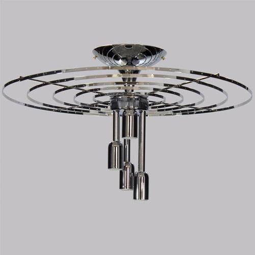 Montatura 5 anelli per lampadario a plafoniera circolare in acciaio cromato Ø 50 cm