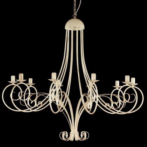 Montatura lampadario a 10 luci colore avorio con pennellate marroni