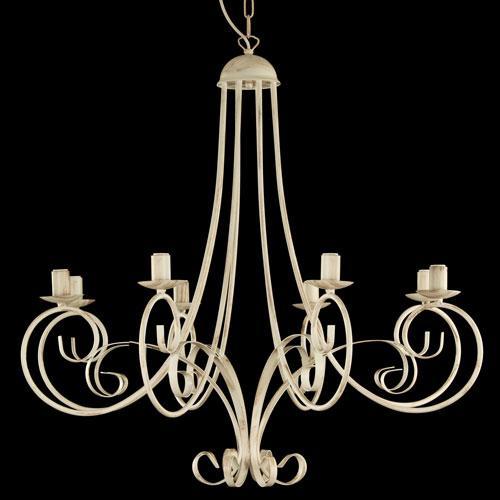 Montatura lampadario a 8 luci colore avorio con pennellate marroni