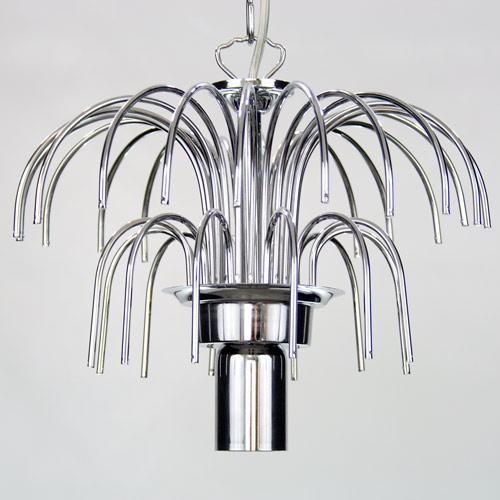 Montatura lampadario a pioggia 1 luce, finitura cromo, diametro 30 cm con 32 zampilli forati e 6 fori nel piatto.