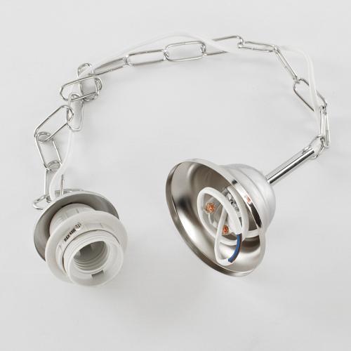 Montatura sospensione lampada E27 cromo lucido corona con catena e cavo elettrico bianco