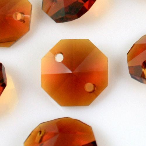 Ottagono 14 mm ambra caldo vetro cristallo molato 16 facce 2 fori.