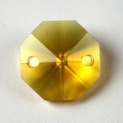 Ottagono 16 mm giallo cristallo vetro molato 2 fori